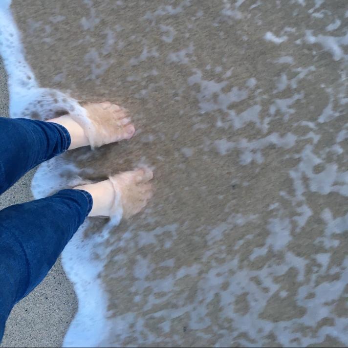 bare feet in the sea