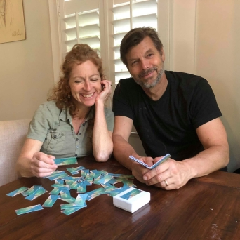 A couple use the Sea Soul Blessings cards