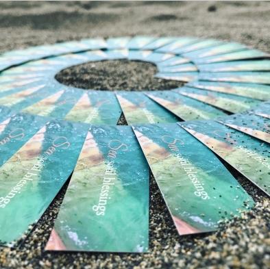cards on beach